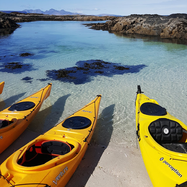 the kayaks and the water