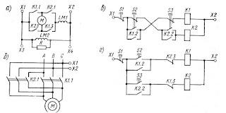 Схемы пуска и реверсирования двигателей с контакторным управлением