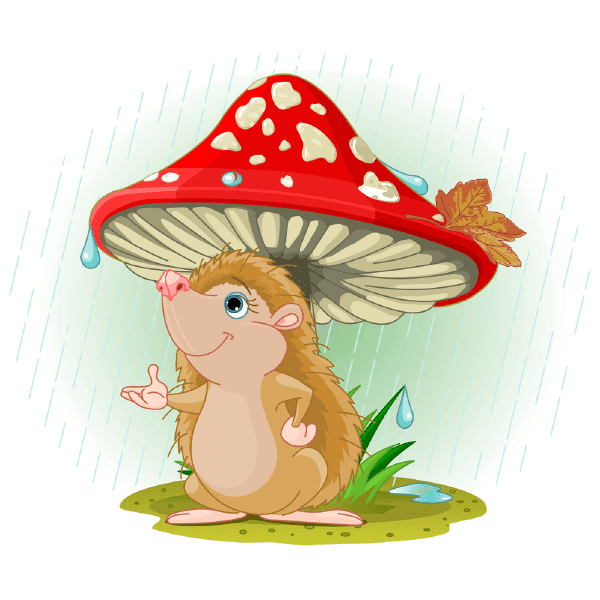 Hedgehog under Mushroom