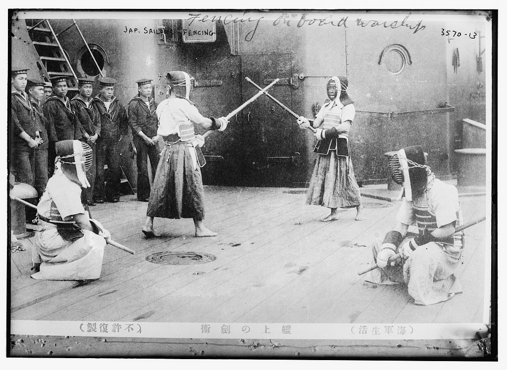 Japanese sailors fencing, c. 1910s ~ vintage everyday