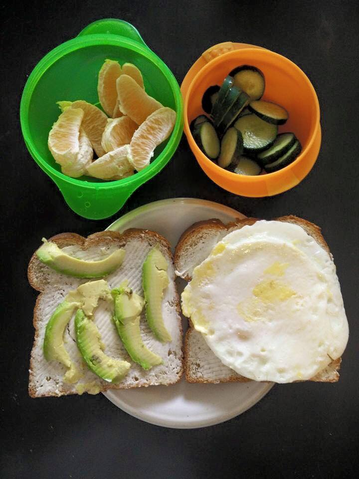 Whole Wheat Sandwich with Cream Cheese, Avocado and Egg, Oranges and ...