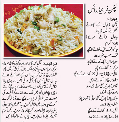 Recipes In Urdu Chicken Fried Rice Recipe In Urdu