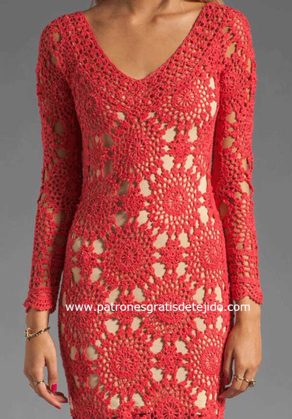 motivo de encaje crochet para vestido largo de dama