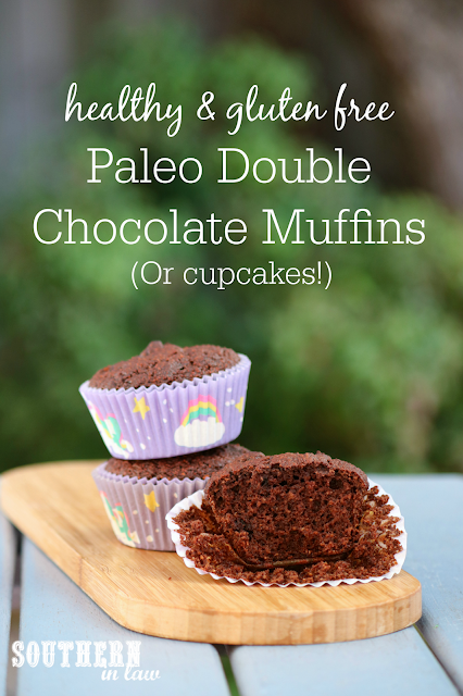 Healthy Paleo Double Chocolate Muffins Recipe - gluten free,  grain free, paleo, nut free, soy free, sugar free, low fat