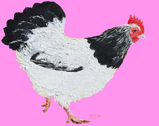 Chicken painting on pink background