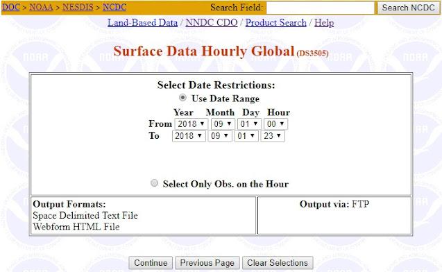 Mengakses data iklim dunia - periode data perjam