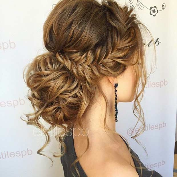 Easy MESSY FISHTAIL INTO A LOW BUN prom updos
