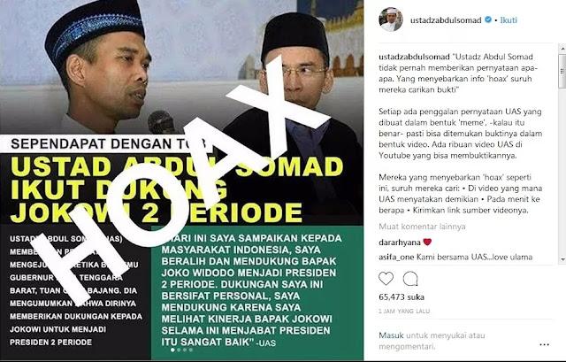 Viral Meme Hoax Dukung Jokowi 2 Periode, Ustaz Abdul Somad Suruh Penyebar Cari Ini