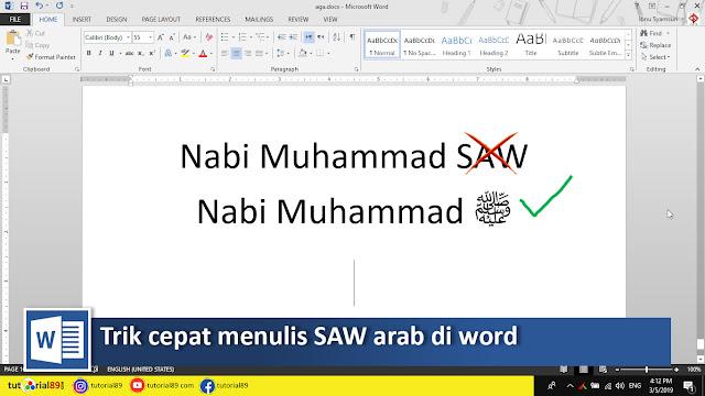 Cara cepat menulis Shalallahu alaihi wasalam ﷺ (SAW) di word + video