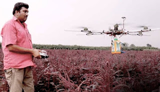 Farmer operating the drone