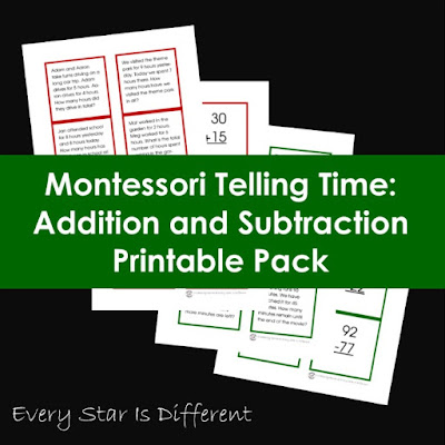 Montessori Telling Time: Addition and Subtraction Printable Pack