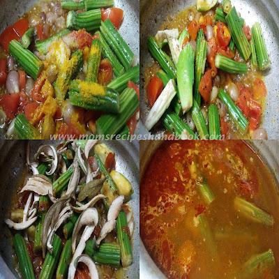 Drumstick Brinjal Dry Mango Curry Recipe