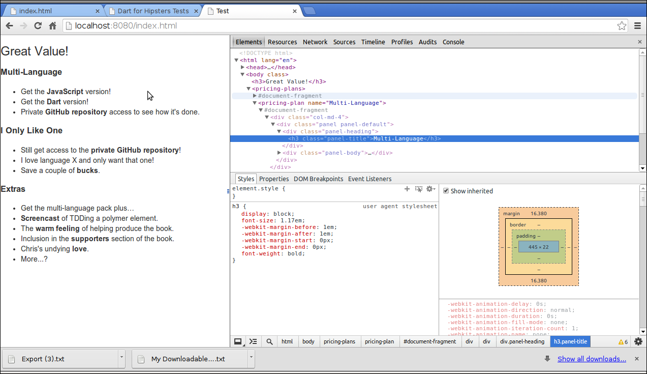 japh(r) by Chris Strom: Converting JavaScript Polymer to Dart