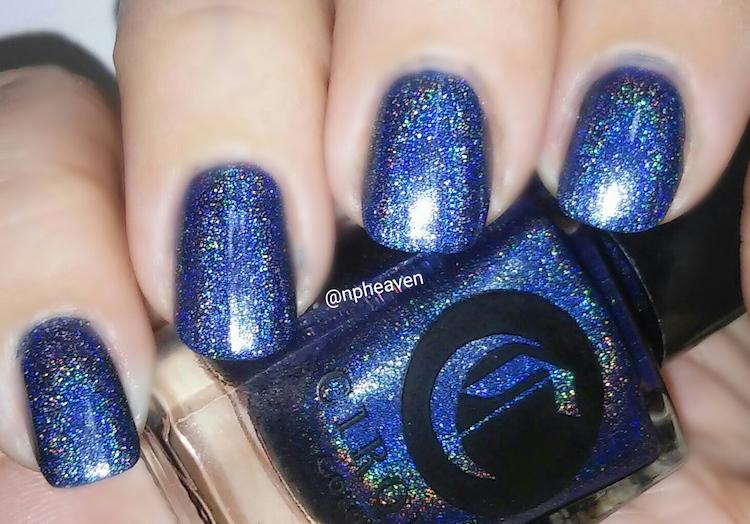 blue holo nail polish swathc