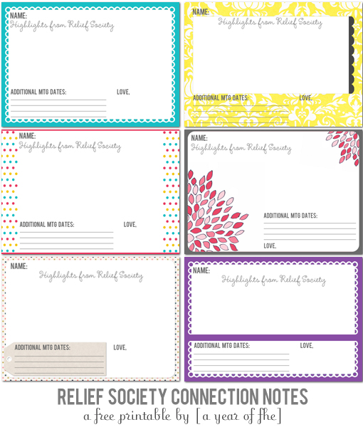 Mormon Share } Free Printable Relief Society Notes