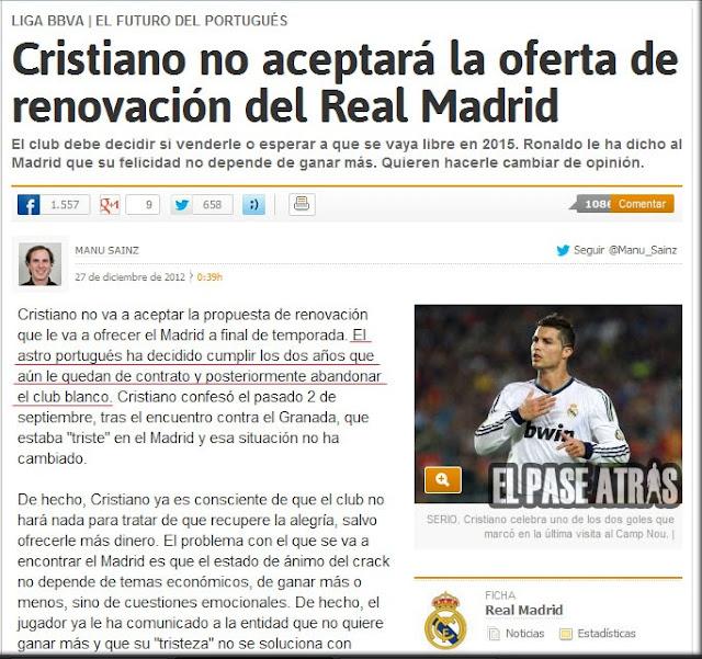 Manu Sainz y Cristiano Ronaldo renovación Real Madrid
