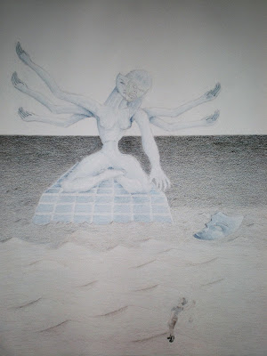 Incomplete colored-pencil drawing of a giant six-armed goddess statue coming to life.