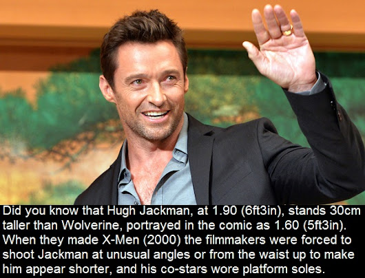 Did you know that Hugh Jackman, at 1.90 (6ft3in), stands 30cm taller than Wolverine....