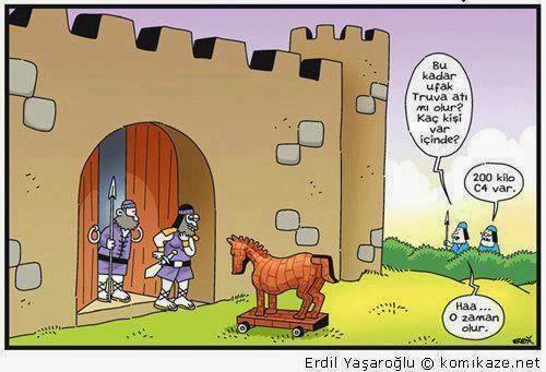 Erdil Yaşaroğlu Karikatür bu kadar ufak truva atı mı olur