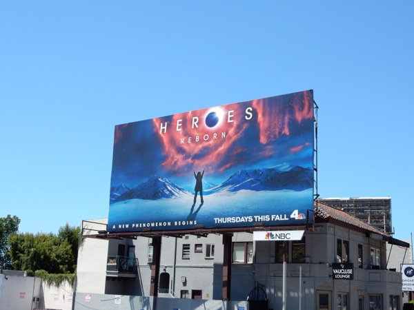 Heroes Reborn series launch billboard