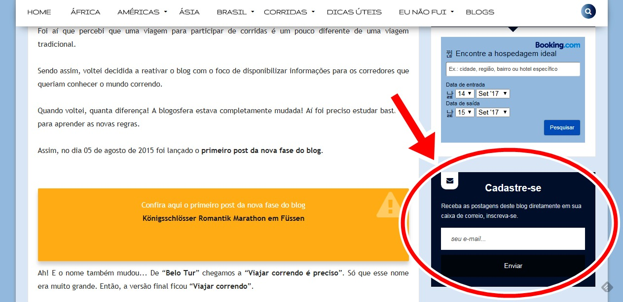 Assine a newsletter do blog