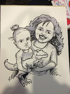 A Caricature depiction of a brother and sister with the brother holding a dinosaur