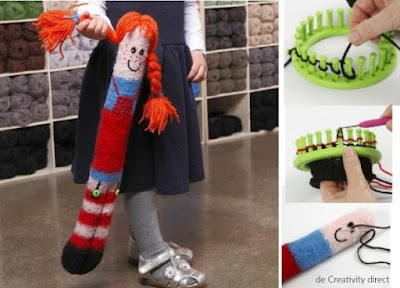 Muñeca larga de tubo tejida con telar mediano tricotin