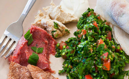 Raw minced lamb with burghul and spices Raw minced lamb with burghul and spices (kibbeh nayeh) recipe