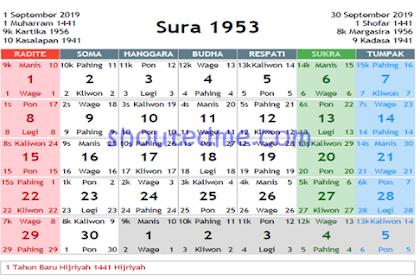 Kalender Jawa September 2019 Lengkap