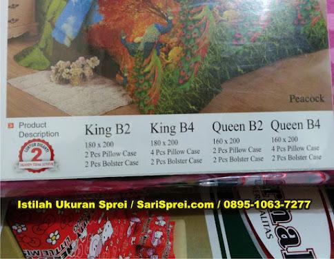 istilah ukuran sprei queen king size