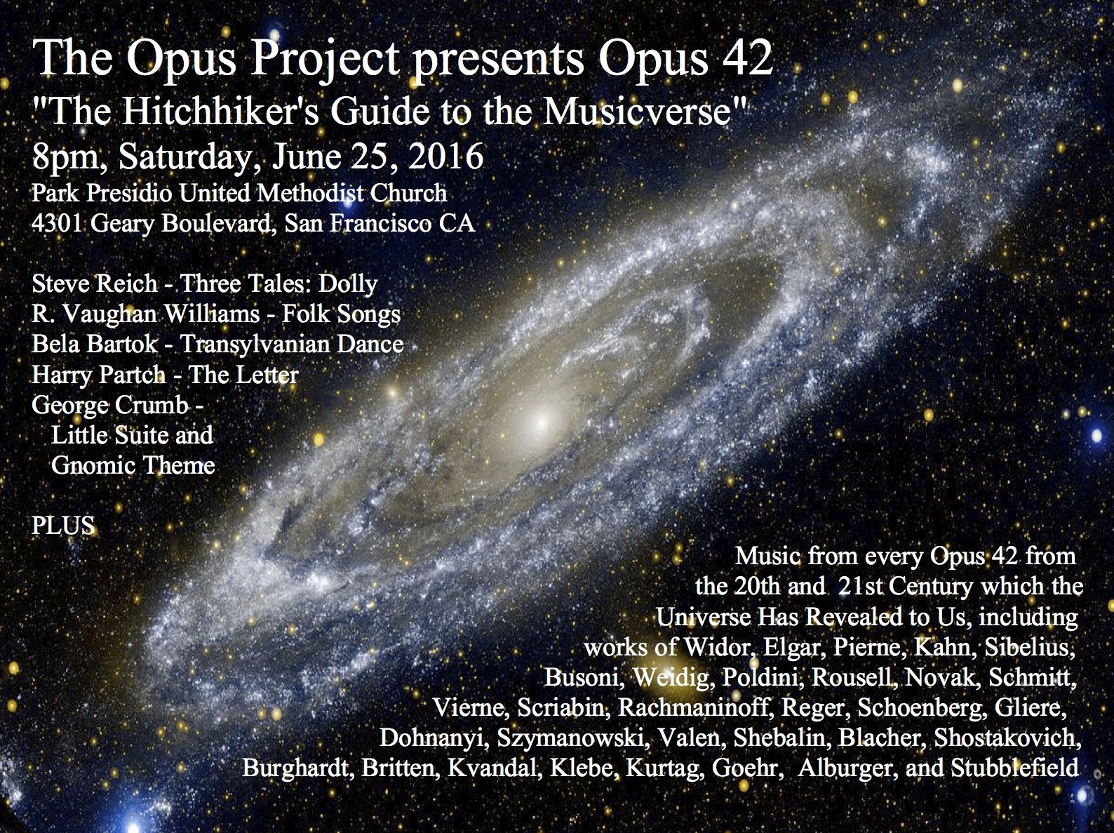 d9b1c5a0357f2 June 25 - Opus 42  The Hitchhiker s Guide to the Musicverse. THE OPUS  PROJECT