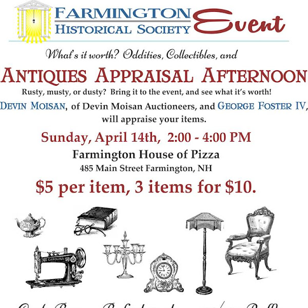 Save the Date! #FarmingtonNH Historical Society 2019 Antiques Appraisal Afternoon