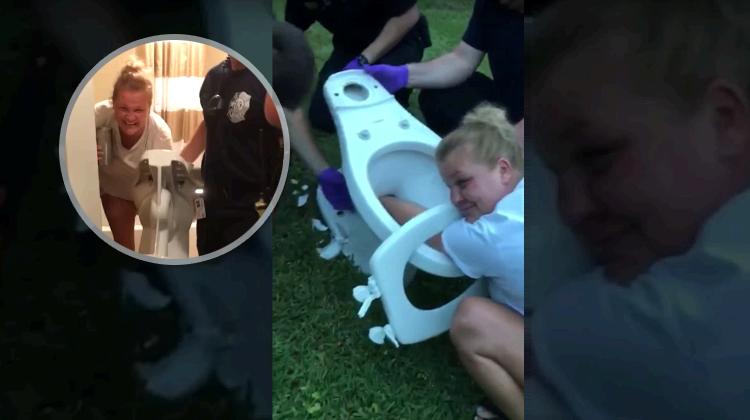 Women stuck in a toilet and call cops