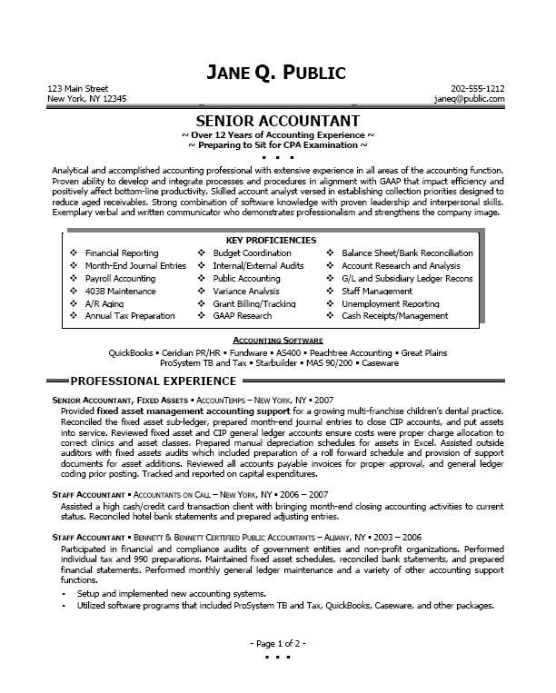 Sample Resumes For Accounting Accounting Resume Objective