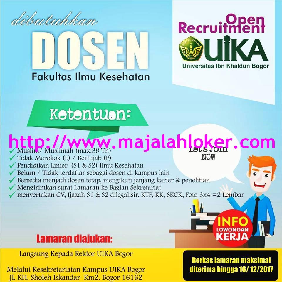 Lowongan Dosen Fakultas Ilmu Kesehatan Universitas Ibn Khaldun Bogor (UIKA)