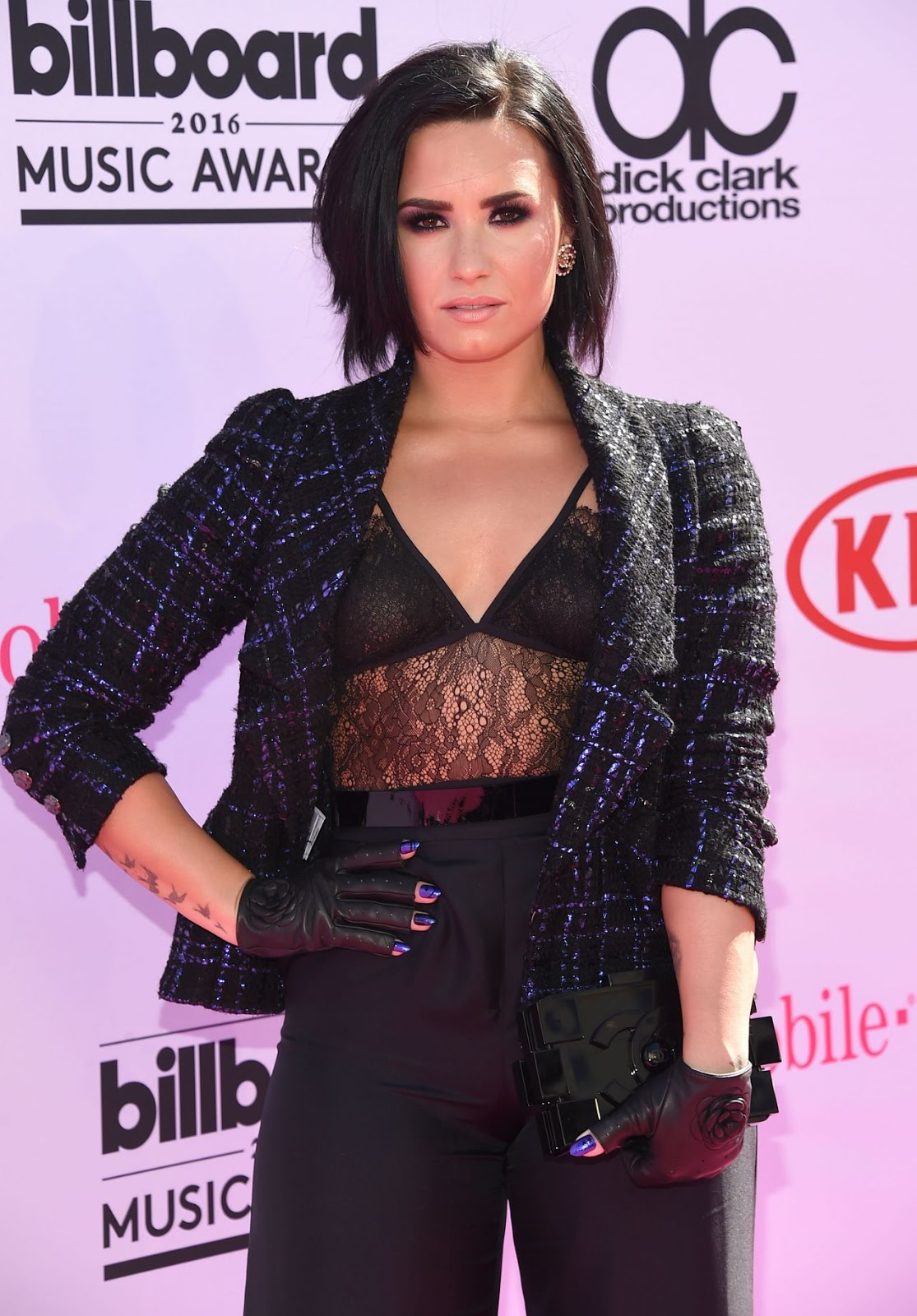 Demi Lovato rocks lacy lingerie-inspired top at Billboard Music Awards