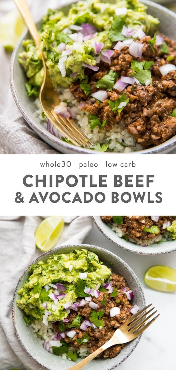 Whole30 Chipotle Beef & Avocado Bowls