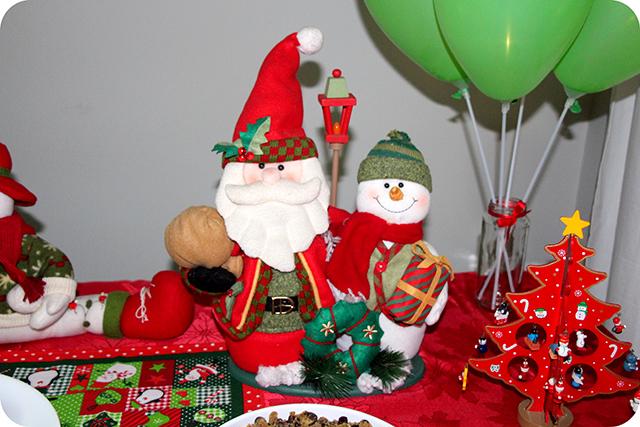 Decoração da Mesa : Festa de Natal : Boneco de Neve e Papai Noel