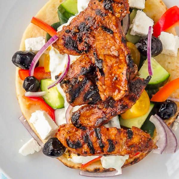 Pork Souvlaki With Lemon Oregano Tzatziki