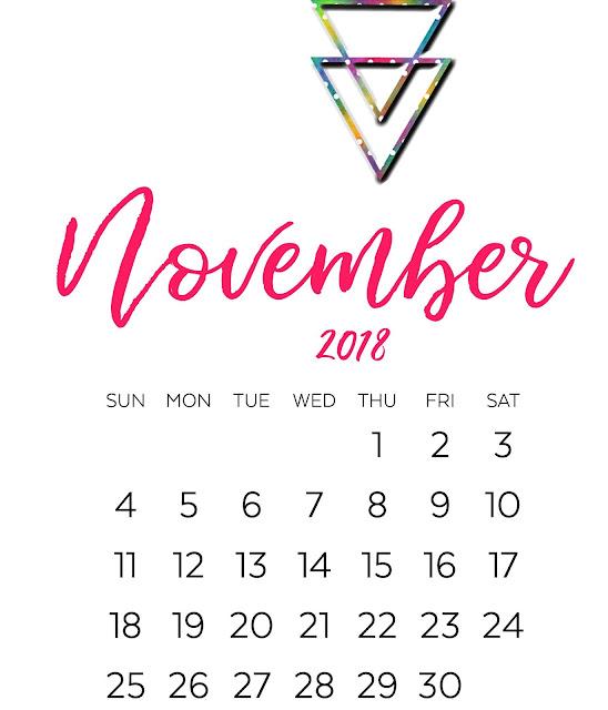 November 2018 calendar USA UK