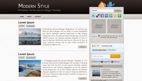 modern style ads ready blogger template 2014 for blogger or blogspot,ads ready blogger template 2014 2015,white black blogger template 2014,two column blogger template 2015,social blogger template free download,free download blogger template