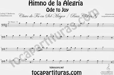 Partitura del Himno de la Alegría fácil en Sol Mayor e instrumentos de Clave de Fa (bass clef) G