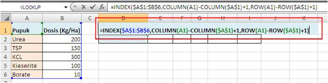 Contoh Formula INDEX untuk Transpose Data Excel
