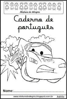 Capa para caderno português Mcqueen