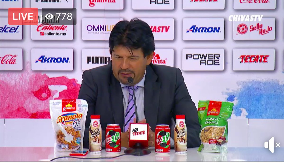 Chivas coach's press conference swamped by bizarre product placement