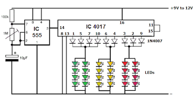 Traffic light using IC4017