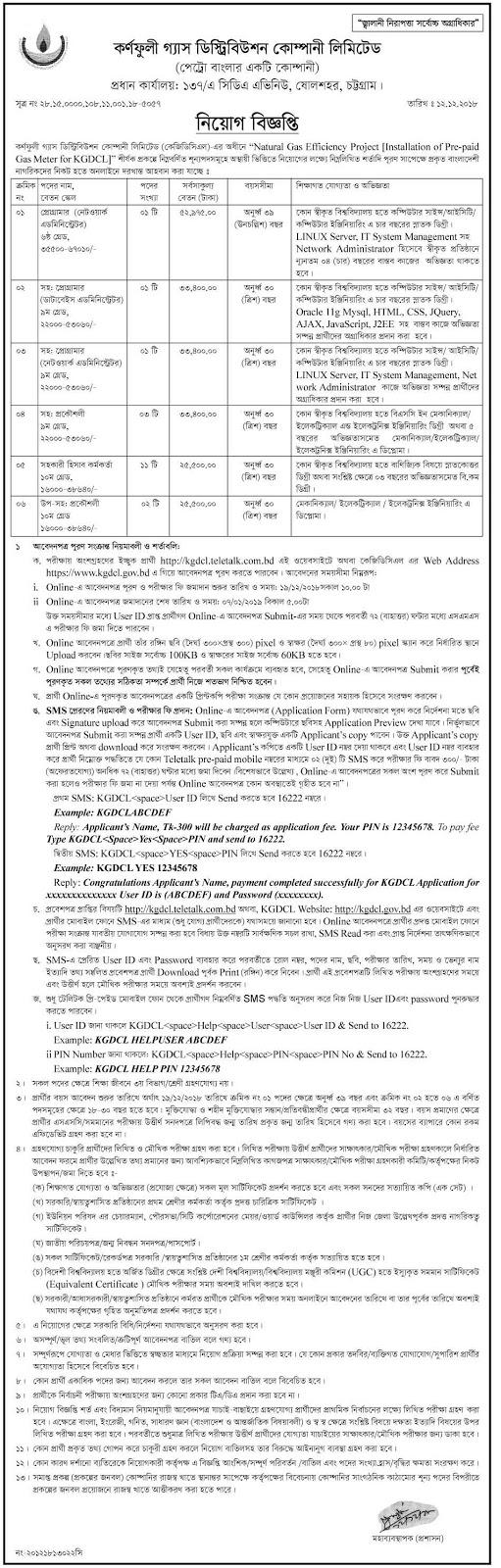 Karnafuli Gas Distribution Company Limited (KGDCL) Job Circular 2018