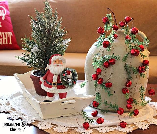 Christmas Coffee Table Vignette with Wispy Jingle Bells organizedclutter.net