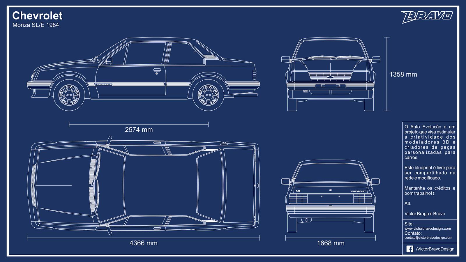 Imagem mostrando o desenho do blueprint do Chevrolet Monza SE/L 1984