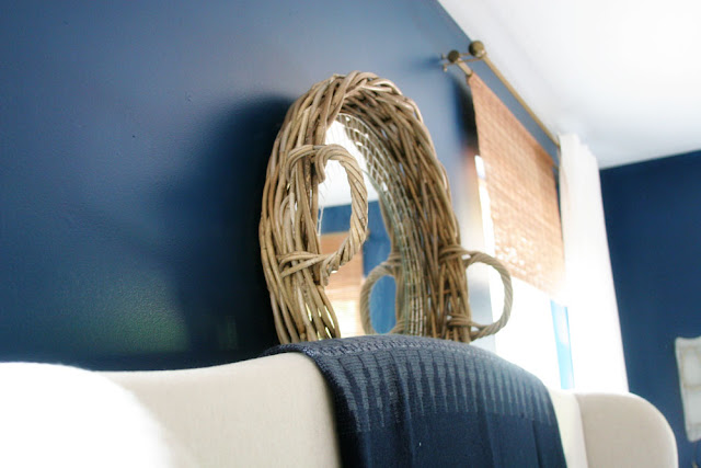 Mirror and Basket hanging over Headboard // Craftivity Designs
